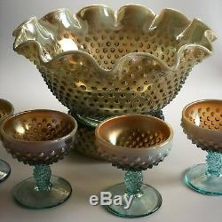 Fenton Hobnail Aquagold Opalescent Champagne Punchbowl & Coupes Rare