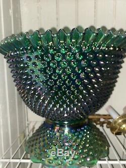 Fenton Hobnail Carnival Green Punchbowl