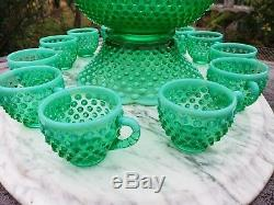 Fenton Hobnail Lime Green Huge Punchbowl