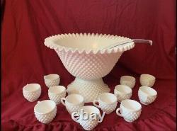 Fenton Hobnail Milk Glass Punch Bowl 15 Piece Set #3712