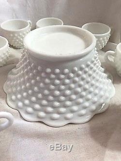 Fenton Hobnail Milk Glass Punch Bowl Base and 9 Punch Cups