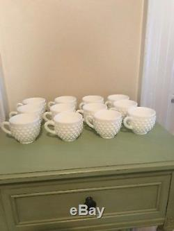 Fenton Hobnail Milk Glass Punch Bowl With 12 Cups And Ladle