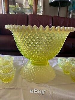 Fenton Hobnail Topaz Vaseline Punchbowl With 12 Cups SUPER RARE