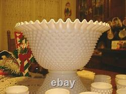 Fenton Hobnail White Milk Glass Punch Bowl & 12 Cups With Stand Ruffled Edge