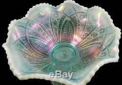Fenton Hobstar Opalescent Aquamarine Punch Bowl 4 Tumblers Platinum Anniversary