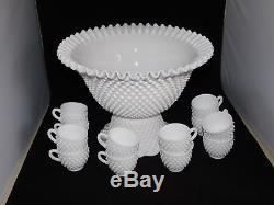 Fenton Milk Glass Hobnail 14 Pc Punch Set Bowl- Base 12 Cups