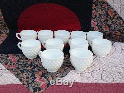 Fenton Milk Glass Punch Bowl Hobnail Set Torte Plate Underplate Ladle (11) Cups