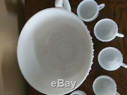 Fenton Milk Glass Punch Bowl Hobnail Set Torte Underplate, Ladle, (12) Cups