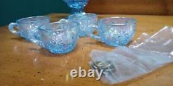 Fenton Misty Blue Iridescent Plum Crest Mini Punch Bowl set