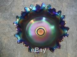 Fenton Orange Tree Cobalt ELECTRIC Blue Carnival Glass Punch Bowl