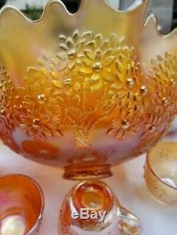 Fenton Orange Tree Punch Bowl Set Stunning Amber/gold Color! Impressive