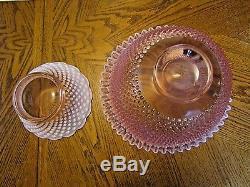 Fenton Pink Hobnail Opalescent 14pc Banquet Punch Bowl SetEXCELLENT