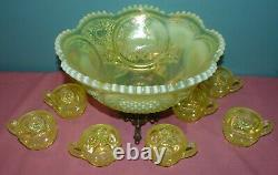 Fenton Satin Topaz Opalescent Vaseline Punch Bowl with 8 Cups & Stand