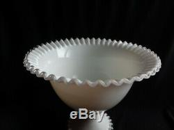 Fenton Silver Crest Pure White 2 Pc Punch Bowl Set