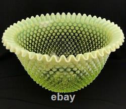 Fenton Vaseline Uranium Glass Large Hobnail Topaz Punch Bowl, 12 Cups, Ladle