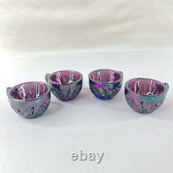 Fenton Vintage Purple Iridescent Carnival Rim Mini Glass Punch Bowl & 4 cup Set