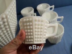 Fenton White Hobnail Milk Glass Octagonal Punch Bowl Set Bowl, Ladle, 12 Cups