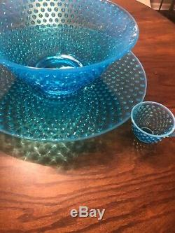 Fenton hobnail punchbowl from 1950s with 12 cups