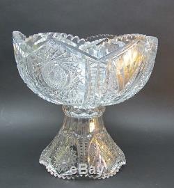 Fine AMERICAN BRILLIANT CUT GLASS Footed 12 Punch Bowl Ex Cdn c. 1880 antique