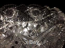 Fine Large American Brilliant Period Deep Cut Crystal Punch Bowl & Pedestal