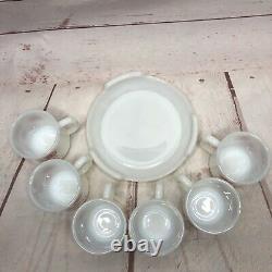 Fire King Egg Nog Christmas Punch Bowl 6 Mugs Base Set Vintage Snowflakes MCM