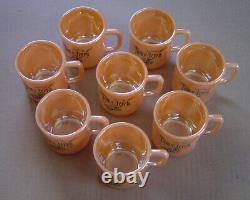 Fire King Peach Lustre Tom & Jerry Punch Bowl WithPedestal & 8 Cups