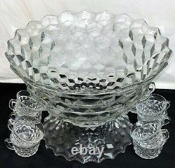 Fostoria AMERICAN CRYSTAL 14 PC 18 LARGE PUNCH BOWL SET WithLARGE LOW FOOT
