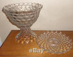 Fostoria American 14 Punch Bowl Pedestal and Underplate Very Nice