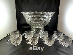 Fostoria American 14 Punch Bowl with Pedestal Center Base and 8 Cups! Crystal