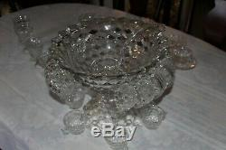 Fostoria American 14 Punch Bowl with18 Cups, Ladle and Stand