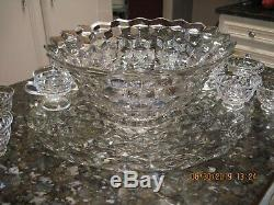 Fostoria American 14 punch bowl, 11 cups, 19 Platter