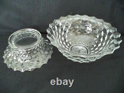 Fostoria American 6qt crystal punch bowl 14in w low stand cube pattern