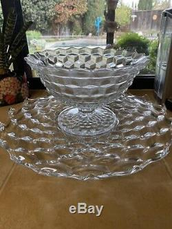 Fostoria American Crystal 12 Footed Punch Bowl With 19 3/4 Underplate Cubist