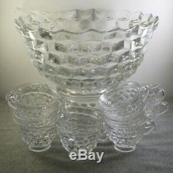 Fostoria American Cube Glass 15pc Punch Bowl Set 12 Cups, Ladle, Base & Bowl