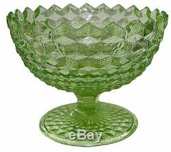Fostoria American / Libochovice RARE Green Cube Footed Punch Bowl