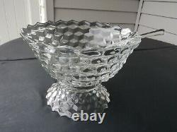 Fostoria American Punch Bowl With Low Base And Ladle