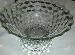 Fostoria American Vintage Pedestal 14.5 Punch Bowl with 10 Glass Cups & Ladle