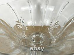 Fostoria Baroque Glass Punch Bowl & 6 Punch Cups Elegant Glass (@b8)