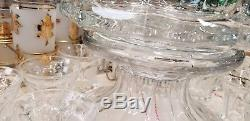 Fostoria COIN GLASS CLEAR Punch Bowl Base, Bowl and 15 Cups. Exc. NOS. Beautiful