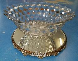 Fostoria Crystal Punch Bowls with Mirror Base and 24 Cups