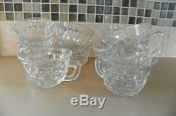 Fostoria Glass American Banquet 14 Punch Bowl Set With Stand and 12 cups