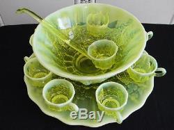 GORGEOUS OPALESCENT TOPAZ VASELINE GLASS PUNCH BOWL SETUnderplateCupsLadle