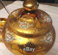 GORGEOUS! Rare Venetian Murano Glass & 24K Gold Leaf Punch Bowl & Cups Set