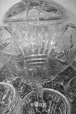 German Brilliant Cut Crystal PUNCH BOWL & CUPS/ Lid Stunning Vintage W Germany