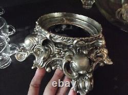 Glass PUNCH BOWL CUPS LADLE Baroque Metal Lancaster Colony 11-1 Pitman Dreitzer