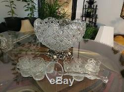 Glass Punch Bowl Set. Vintage LE Smith Daisy & Button withOrnate Metal Base. Ladle