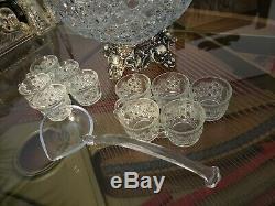 Glass Punch Bowl Set. Vintage LE Smith Daisy & Button withOrnate Metal Base. Ladle
