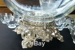 Glass & silverplate punch bowl, ladle, 24 cups Pitman-Dreitzer NY 1960s vintage