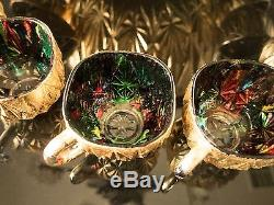 Gold Leaf Crystal Punch Bowl Multi Color Stained Glass With Cups Ladle Unique