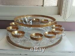 Gold encrusted punch bowl set 12 cups underplate gold rim trim swirl pattern